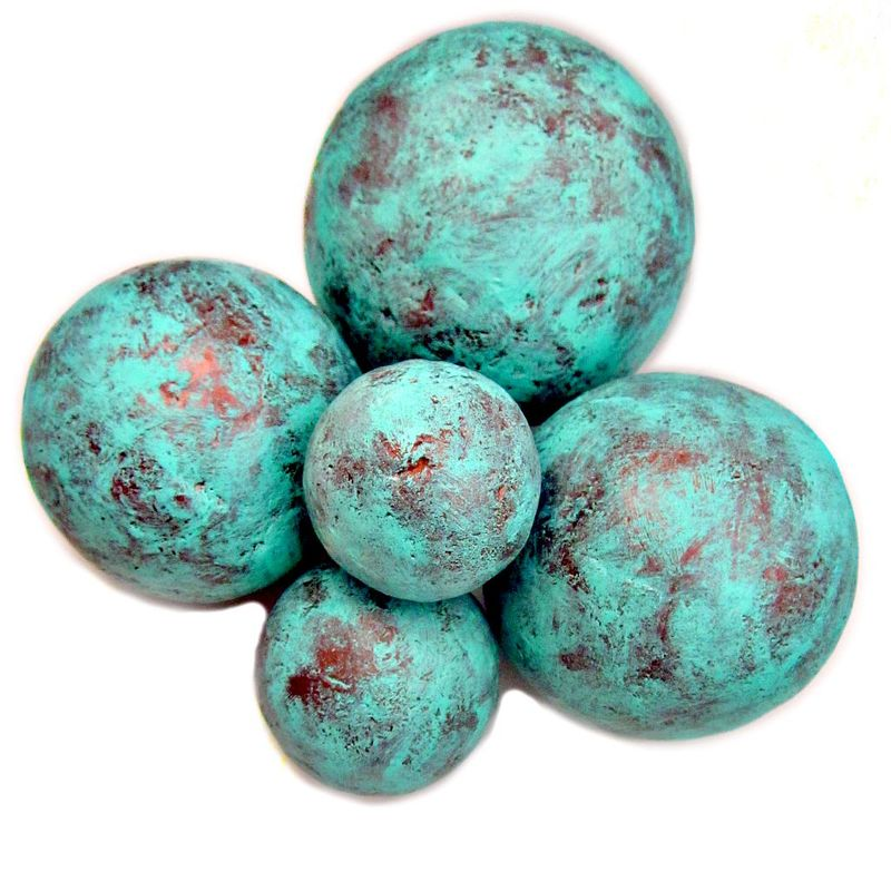 Copper and turquoise blue handmade papier mache accent