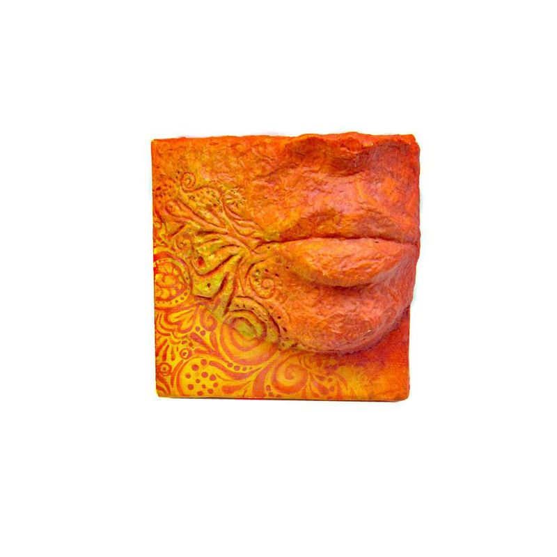 Yellow and Orange Papier Mache Eye Sculpture on 4x4 Canvas: Words Become Truth - product images  of