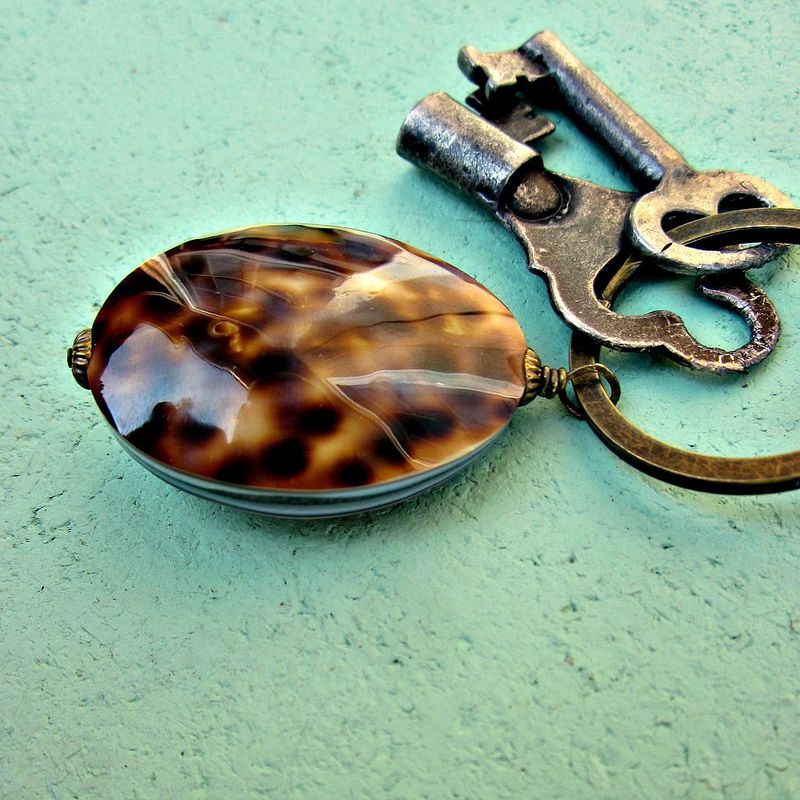 Big Rustic Brass Keyring with Polished Shell Accent: Bimini - product images  of