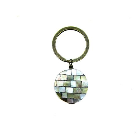 Big,Rustic,Brass,Keyring,with,Polished,Shell,and,Resin,Accent:,Belize,mosaic tiled shell keyring, pearlescent disk keyring, polished shell and resin purse charm, elegant shell keyring, oversized loop keyring, handmade shell nacre keyring