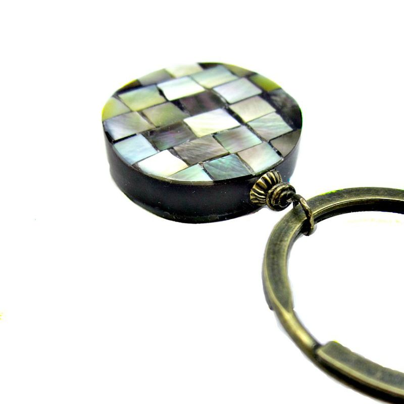 Big Rustic Brass Keyring with Polished Shell and Resin Accent: Belize - product images  of