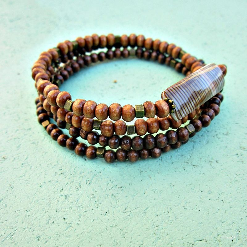Two Tone Wood and Shell Beaded Wrap Bracelet with Rustic Brass Accents: Tahir - product images  of