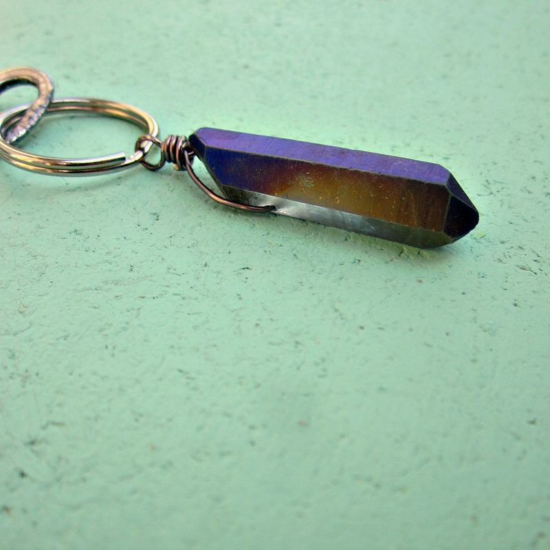 Classic Silver Keyring with Chunky Purple Druzy Quartz Crystal: Code - product images  of