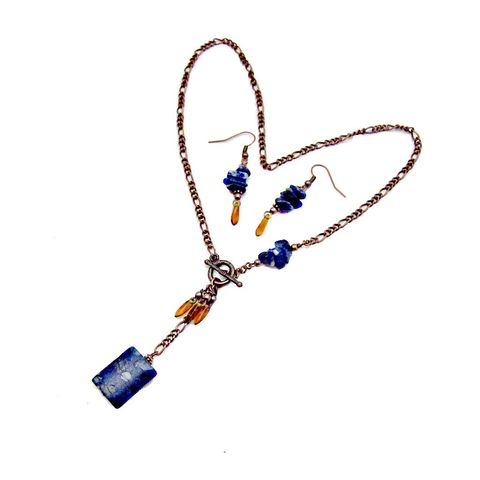 Custom,Blue,and,Copper,Beaded,Necklace,Dangle,Earring,Set:,Chanel,custom design jewelry, salvaged jewelry, upcycled jewelry, handmade beaded earrings, custom orders, special requests