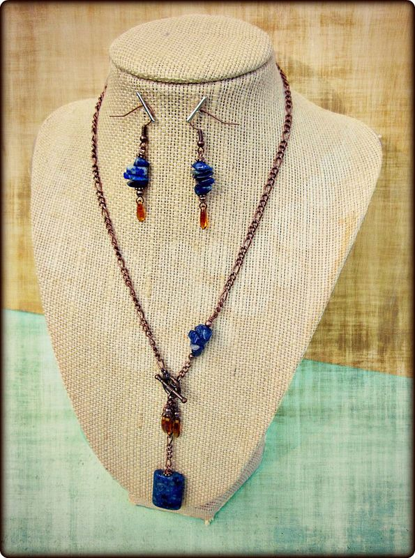 Custom Blue and Copper Beaded Necklace and Dangle Earring Set: Chanel - product images  of
