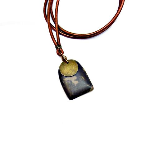 Adjustable,Unisex,Copper,Leather,Cord,Necklace,with,Portoro,Marble,Pendant:,Apollo,copper leather necklace, adjustable unisex necklace, unisex pendant necklace, marble pendant necklace, portoro marble jewelry, leather cord necklace with marble pendant, mens necklace, unisex jewelry