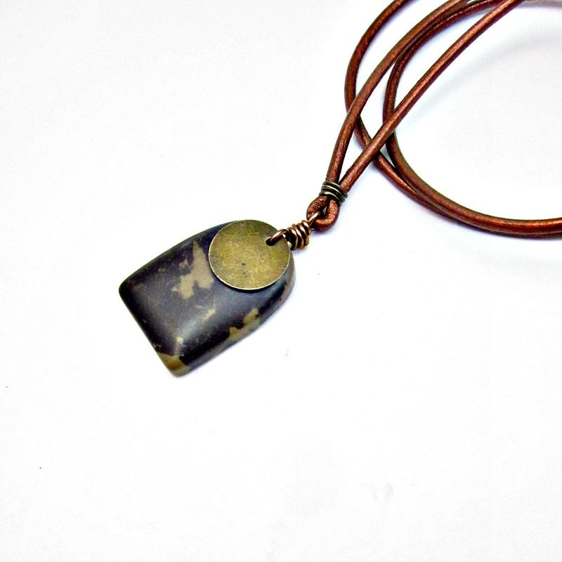 Adjustable Unisex Copper Leather Cord Necklace with Portoro Marble Pendant: Apollo - product images  of