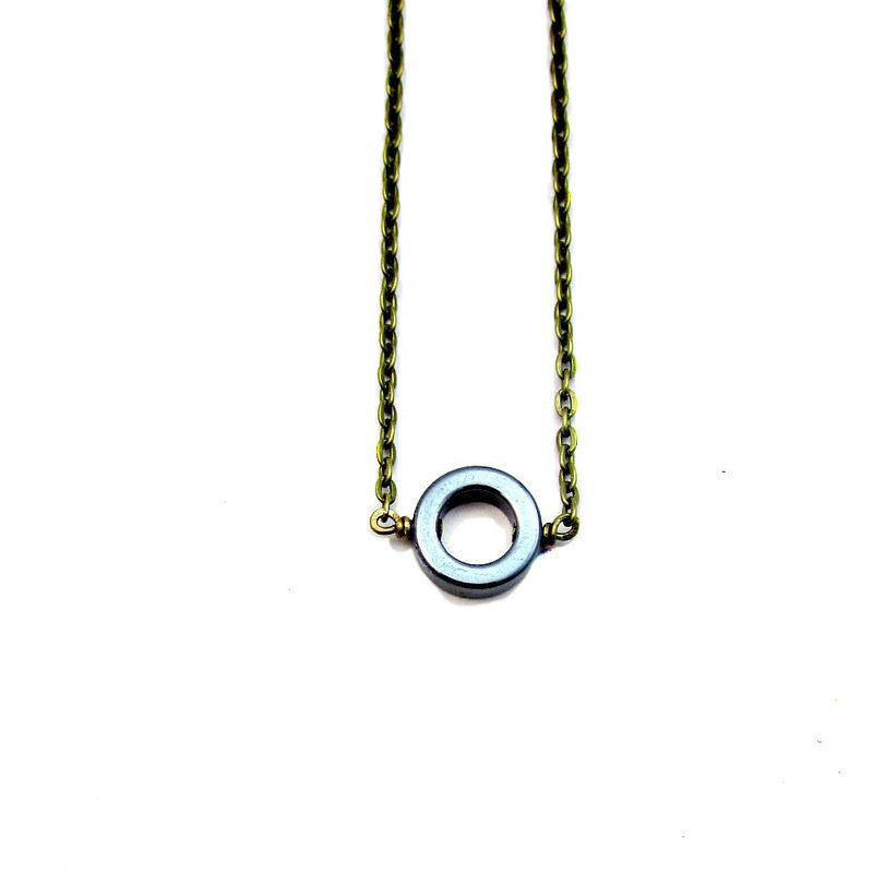 Adjustable Rustic Brass Chain Necklace with Hematite Ring: Circle of Life - product images  of