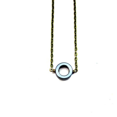 Adjustable,Rustic,Brass,Chain,Necklace,with,Hematite,Ring:,Circle,of,Life,delicate rustic brass necklace with hematite circle, handmade hematite necklace, delicate hematite pendant necklace, adjustable skinny chain necklace, natural hematite jewelry, non magnetic hematite