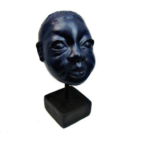 Handmade,Paper,Mache,Child,Bust,Sculpture:,Untitled,sculptural bust, paper mache sculpture, fine art sculpture, child's head, recycled art, African American art, eco friendly art, boy sculpture