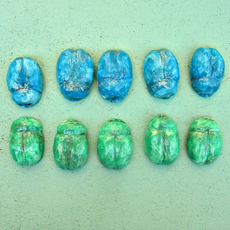 Blue Green Paper Mache Scarab Beetle Magnet Set - product images  of
