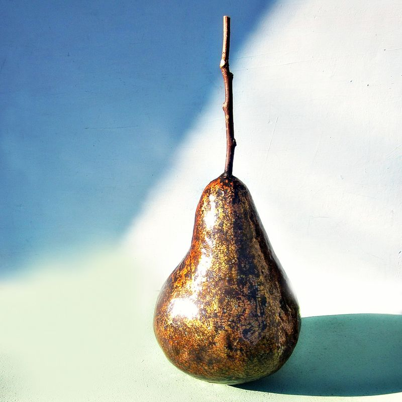 Big Papier Mache Candied Pear Sculpture with Rustic Crackled Finish: Poire D'or - product images  of