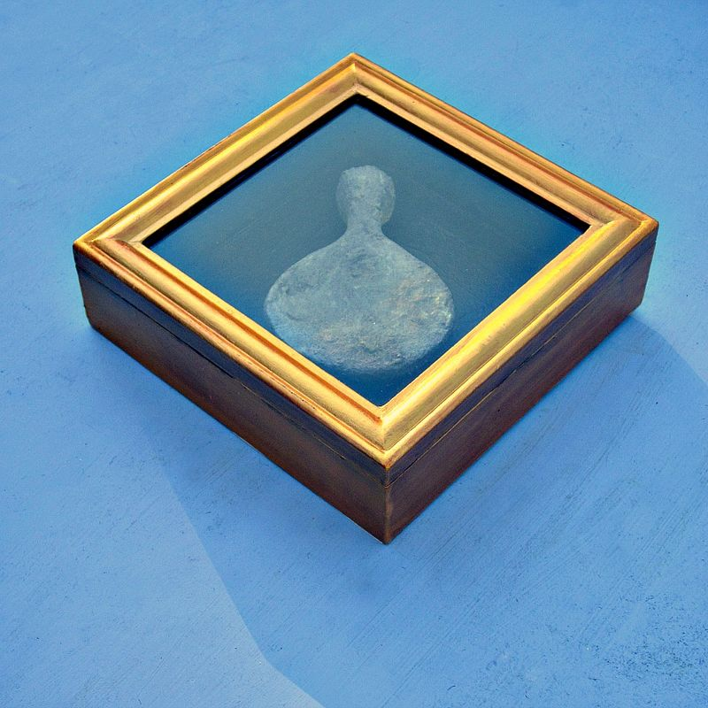 Abstract Salvaged Paper Sculpture in a Gold Wooden Shadowbox: Fixtures Series, #3 - product images  of