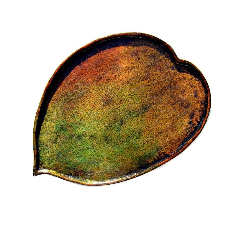 Paper Mache Rustic Crackled Fall Leaf Tray: Autumn Tray - product images  of