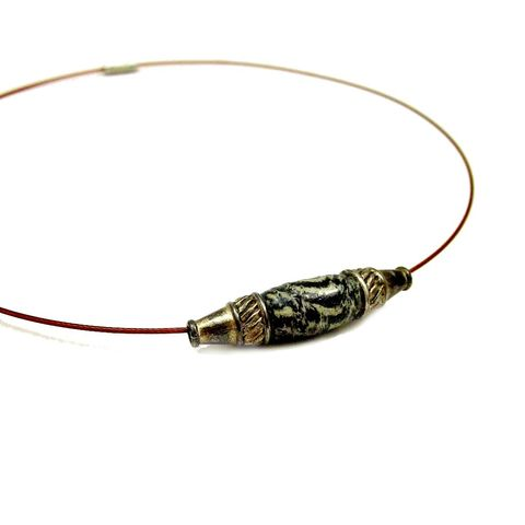 Copper,Cable,Choker,Necklace,with,Salvaged,Fabric,Bead:,Masai,salvaged fabric bead necklace, upcycled fabric jewelry, fabric bead choker necklace, recycled fabric jewelry, salvaged fabric bead