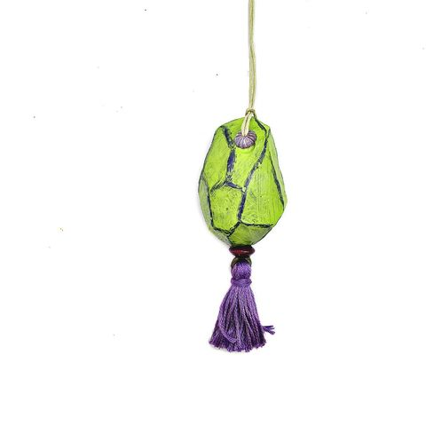 Faceted,Green,Paper,Mache,Nugget,Ornament,with,Purple,Tassel,rustic green christmas ornament, handmade paper mache accents, recycled home decor, paper mache Christmas tree ornament, recycled paper ornaments, recycled holiday decor accents, eco friendly Christmas decoration, paper mache door flair