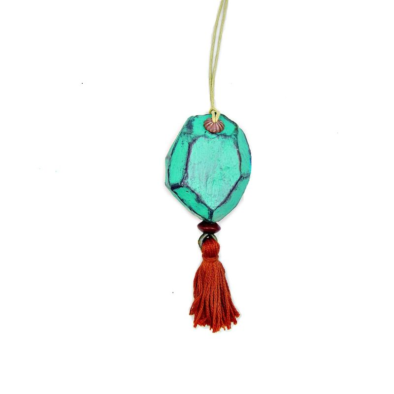 Faceted Turquoise Paper Mache Nugget Ornament With Orange Tassel Product Images Of