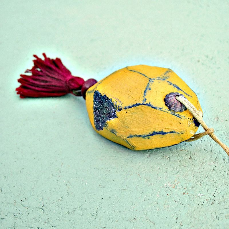 Faceted Yellow Paper Mache Druzy Nugget Ornament with Burgundy Tassel - product images  of