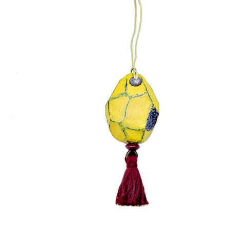 Faceted,Yellow,Paper,Mache,Druzy,Nugget,Ornament,with,Burgundy,Tassel,rustic yellow christmas ornament, handmade paper mache accents, recycled home decor, paper mache Christmas tree ornament, recycled paper ornaments, recycled holiday decor accents, eco friendly Christmas decoration, paper mache door flair, paper druzy nu