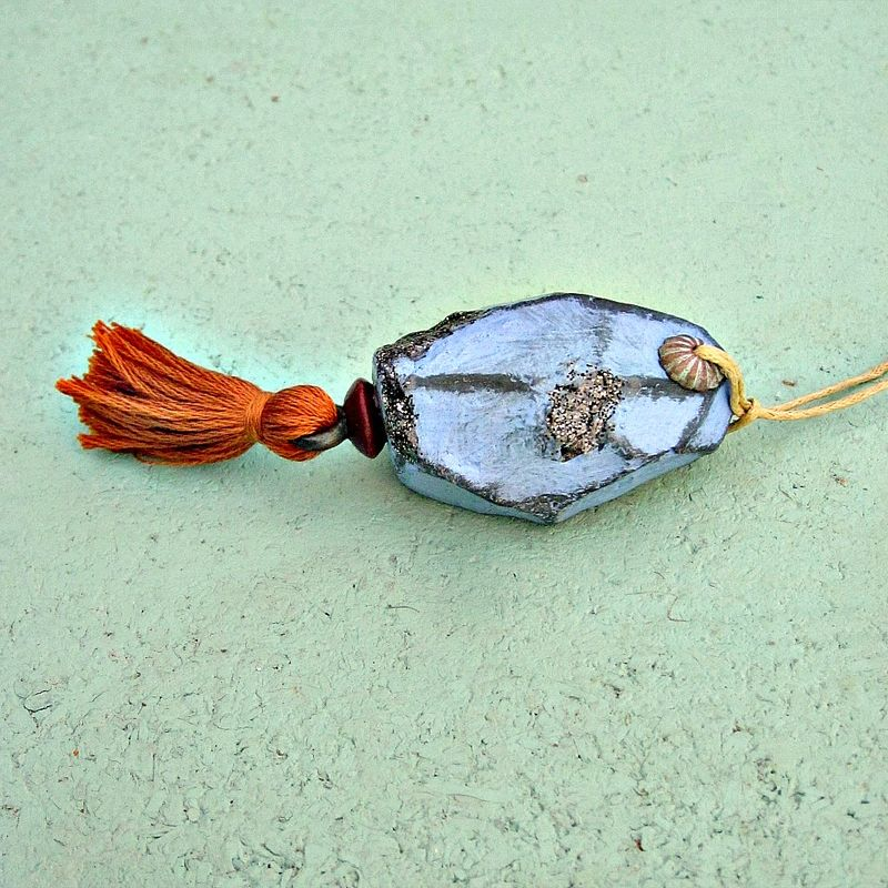 Faceted Periwinkle Paper Mache Druzy Nugget Ornament with Gold Tassel - product images  of