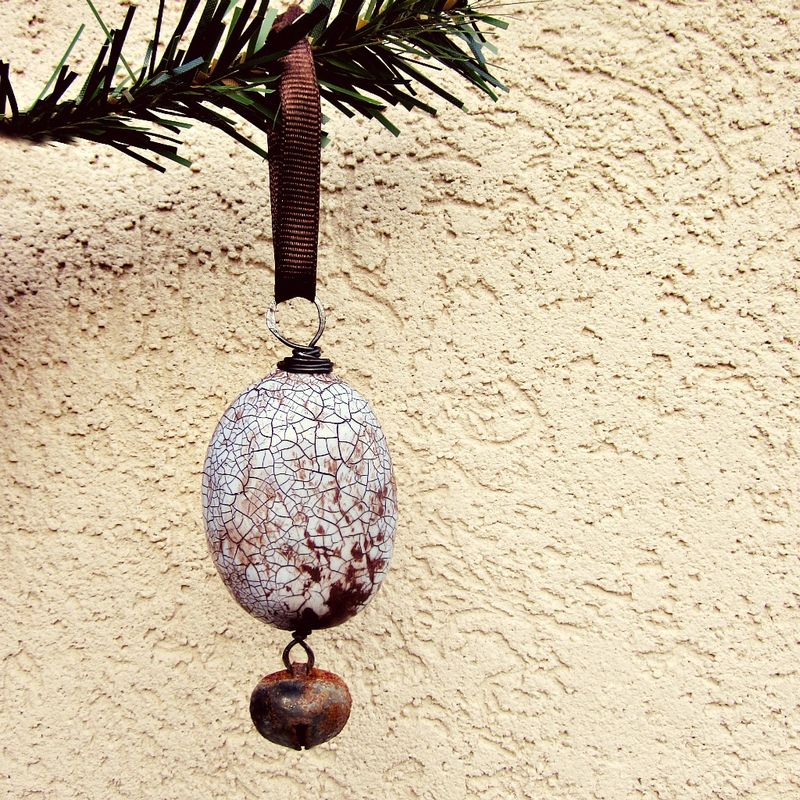 Crackled Lavender Paper Mache Lozenge Ornament with Rustic Jingle Bell: 1948  - product images  of