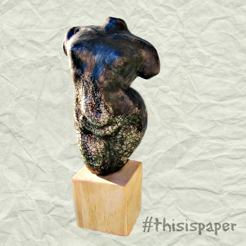 Papercast Female Torso Sculpture on Natural Wood Base: Clouds at Midnight - product images  of