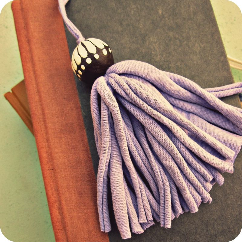 Salvaged Lavender Fiber Tassel with Big Handpainted Paper Mache Bead: Felix - product images  of