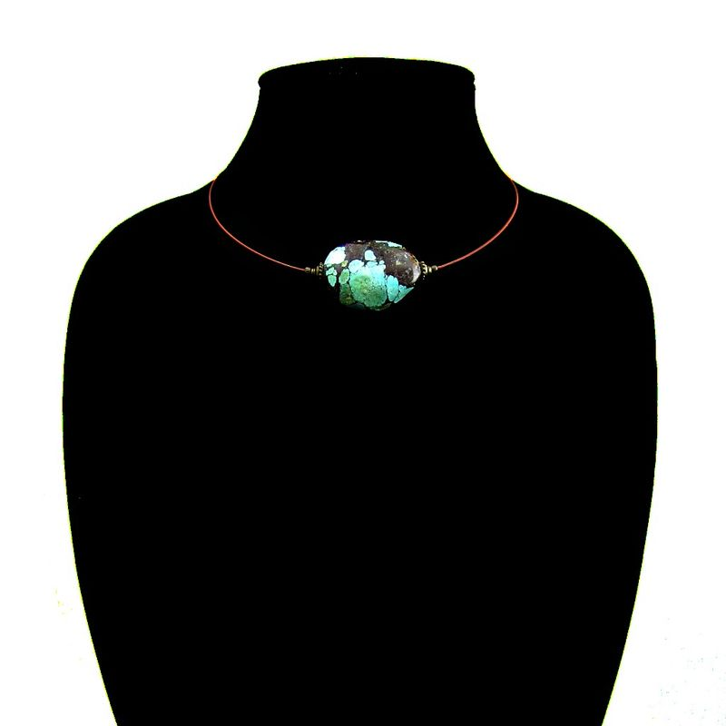 Chunky Turquoise Beaded Wire Choker Necklace: Helena - Created by Renée