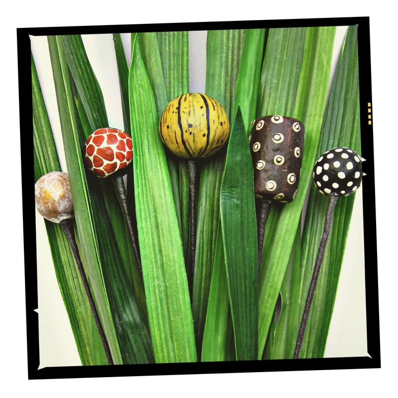 Set of Five Assorted Paper Mache Shapes on Stems Decor Picks: Zanzibar - product images  of