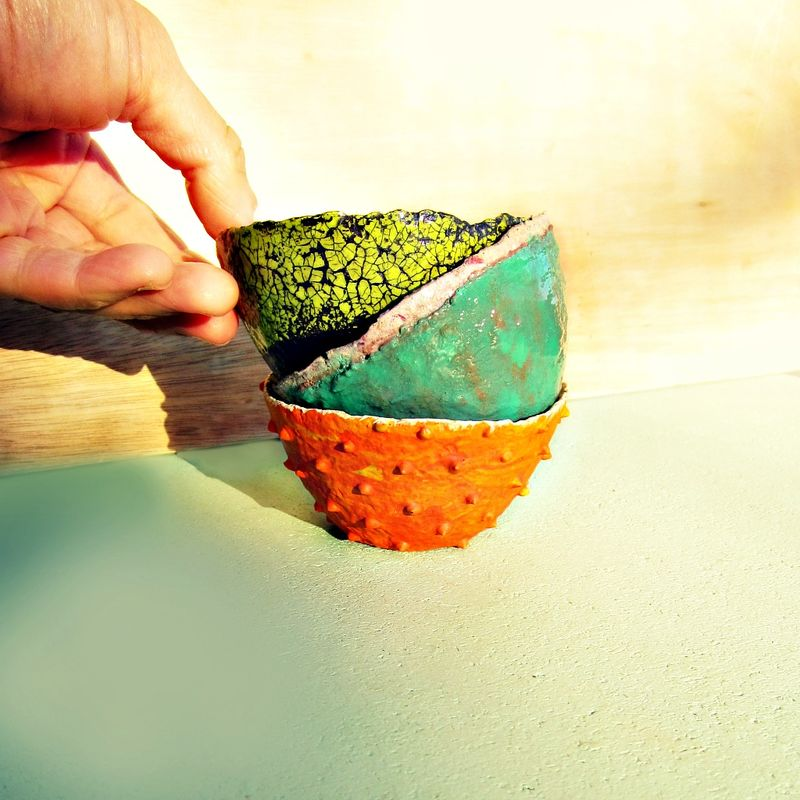 Set of Three Colorful Handmade Mini Paper Mache Bowls - product images  of