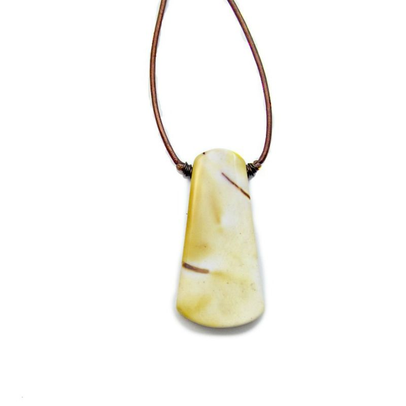 Adjustable Copper Leather Cord Necklace with Yellow Mookaite Slab Pendant - product images  of