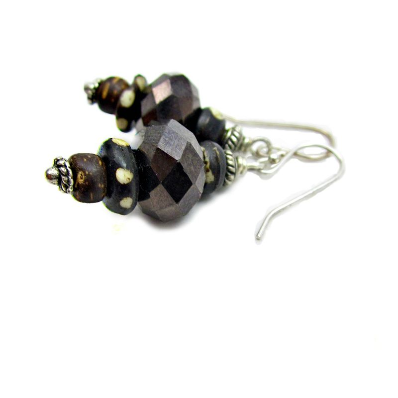 Dangle Earrings with Dyed Bone and Glass:  Côte d'Ivoire - product images  of