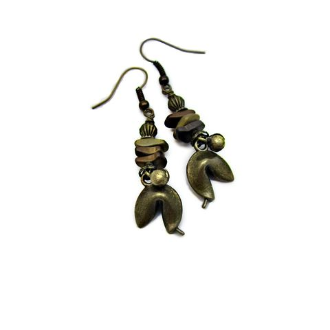 Hematite,Stone,Chip,and,Rustic,Brass,Fortune,Cookie,Dangle,Earrings:,Takeout,fortune cookie dangle earrings, novelty earrings, hematite dangle earrings, fortune cookie jewelry, fortune cookie gifts, takeout earrings