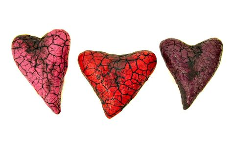 Paper,Mache,Heart,Magnets,,Set,Crackled,Recycled,Decor:,Salvaged,Hearts,handmade paper mache magnets, handmade papier mache hearts, paper mache magnet set, broken heart accents, crackled heart paper mache magnets, paper mache home accents, eco friendly decor, valentine gifts