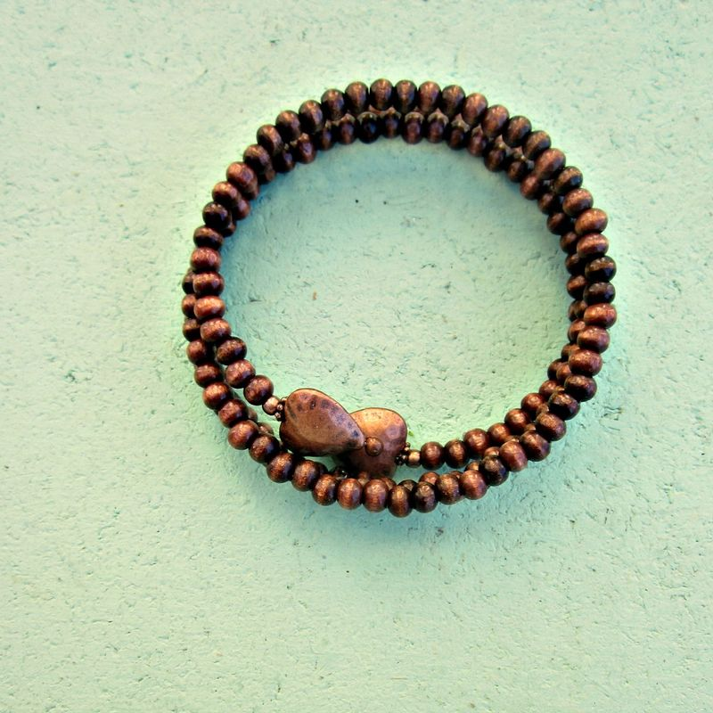 Adjustable Dark Wood Beaded Wrap Bangle with Hammered Copper Heart Accents: Crush - product images  of