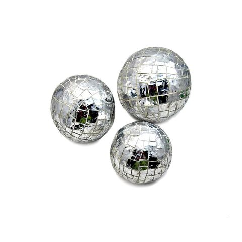 Paper,Mache,Mirrored,Mosaic,Decor,Accent,Balls,,Set,of,Three,mirror mosaic balls, mirrored accent balls, shatterproof accent balls, set of three mosaic balls, white mosaic home accents, eco friendly decor