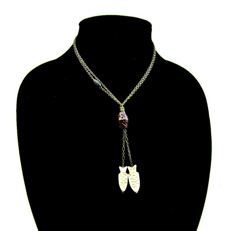 Long Rustic Brass Chain No Clasp Lariat Necklace with Bone Accents: Fisher - product images  of