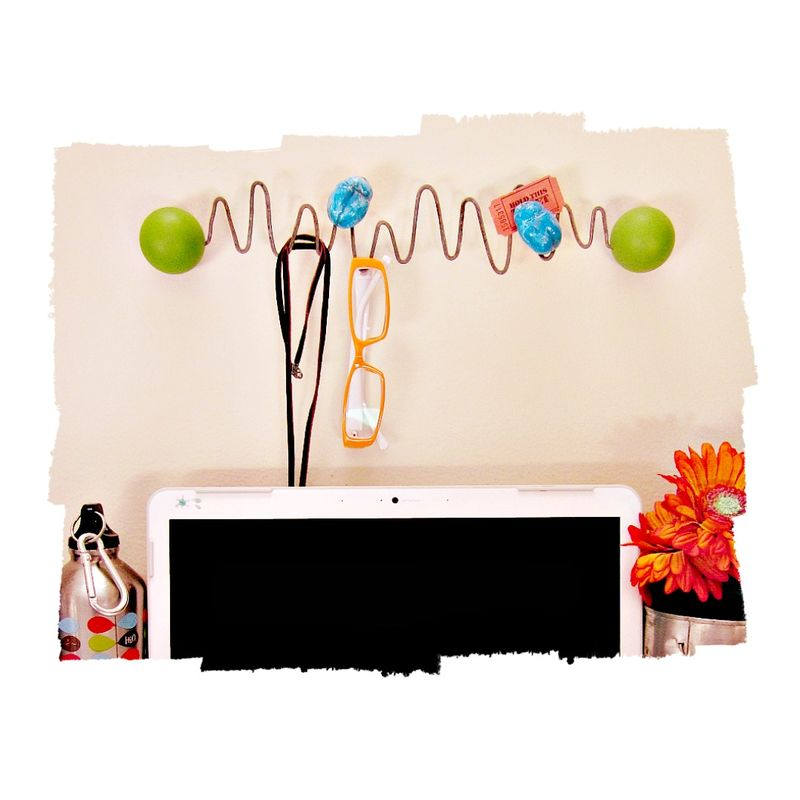 Painted Wood and Salvaged Wire Wall Mounting Note Holder and Hanger: Vitals - product images  of