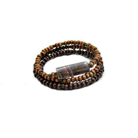 Two,Tone,Wood,and,Shell,Beaded,Wrap,Bracelet,with,Rustic,Brass,Accents:,Tahir,wood beaded wrap bracelet with shell, wood and shell bracelet, wood memory wire bracelet, handmade wood jewelry, shell bracelet, adjustable wrap bracelet