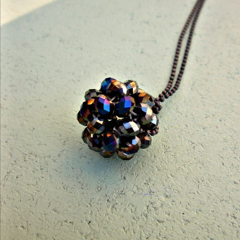 Long Rustic Silver Ball Chain Necklace with Faceted Crystal Beaded Ball - product images  of