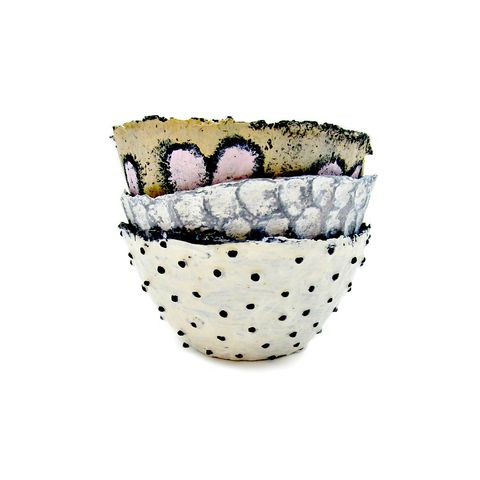Set,of,Three,Neutrals,Handmade,Mini,Paper,Mache,Bowls,papier mache bowls, handmade paper mache bowls, salvaged paper, set of three neutral colored papier mache bowls, miniature salvaged paper bowls, papier mache cups, recycled storage, paper mache decor accents