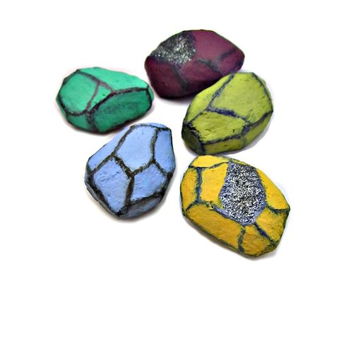 Colorful,Faceted,Paper,Mache,Nugget,Magnet,Set,,Five,Recycled,Decor,Magnets,paper mache nugget magnet set, colorful papier mache magnets, colorful handmade magnets, druzy nugget magnets, bright colored magnets, bright office accessories