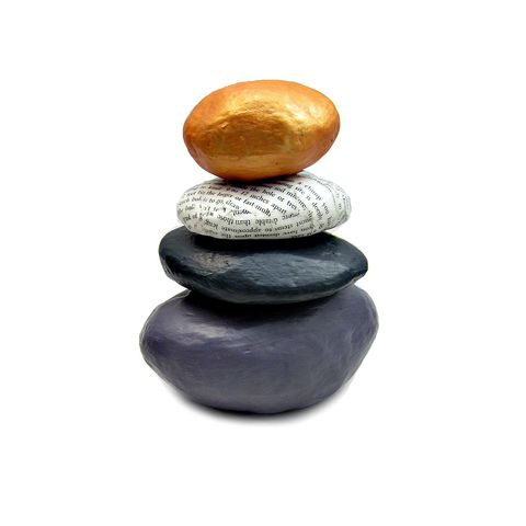 Paper,Mache,Rock,Stack,Cairn,Sculpture,Decor:,Water,handmade paper mache rock stack sculpture, paper mache cairn sculpture, faux rock decor, stacked stone sculpture, recycled paper sculpture, rock stack decor, zen stone decorative accents, face rock decor accents, river stone decor