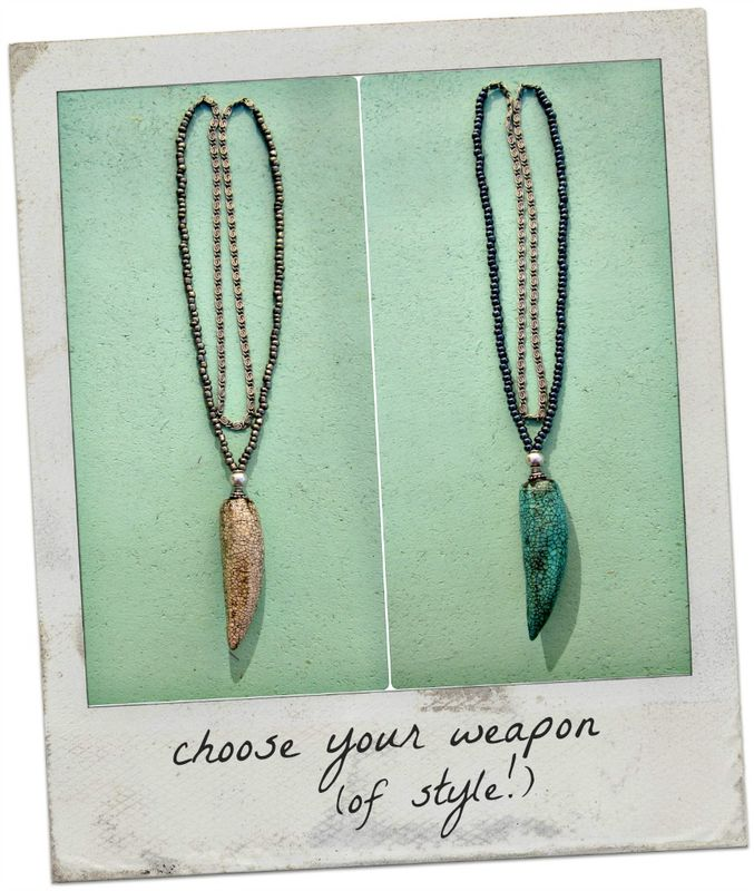 Paper Mache Faux Tusk Crackled Pendant on Bead and Chain Necklace - product images  of