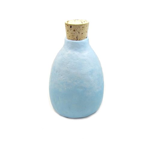 Light,Blue,Paper,Mache,Bottle,Wet,Vase,with,Cork,Stopper:,Haze,light blue handmade paper mache vase, paper mache wet vase, recycled paper home decor accents, blue paper vase, paper wet vase, papier mache bottle, blue bottle