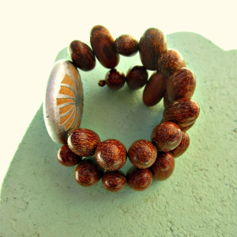 bead soho bracelets wood wooden horn meditation tibetan caps bracelet mens lazaro carved with silver