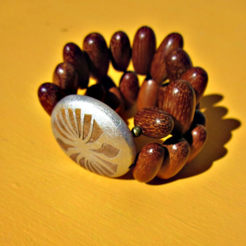 Flexible Wood Beaded Bracelet with Embellished Wood Focal Dial: Cape Verde - product images  of