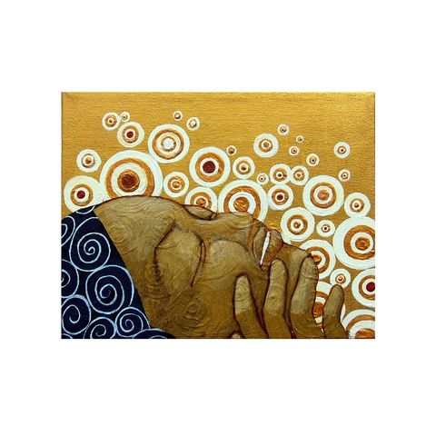 Abstract,Acrylic,Painting,Reproduction,,Woman,with,White,and,Gold,Swirls:,Joy,original abstract painting on canvas, gold and white swirls, painting of a woman, woman painting with with and gold swirls, black woman painting, happy woman painting, african american woman painting, black art reproduction, black art print