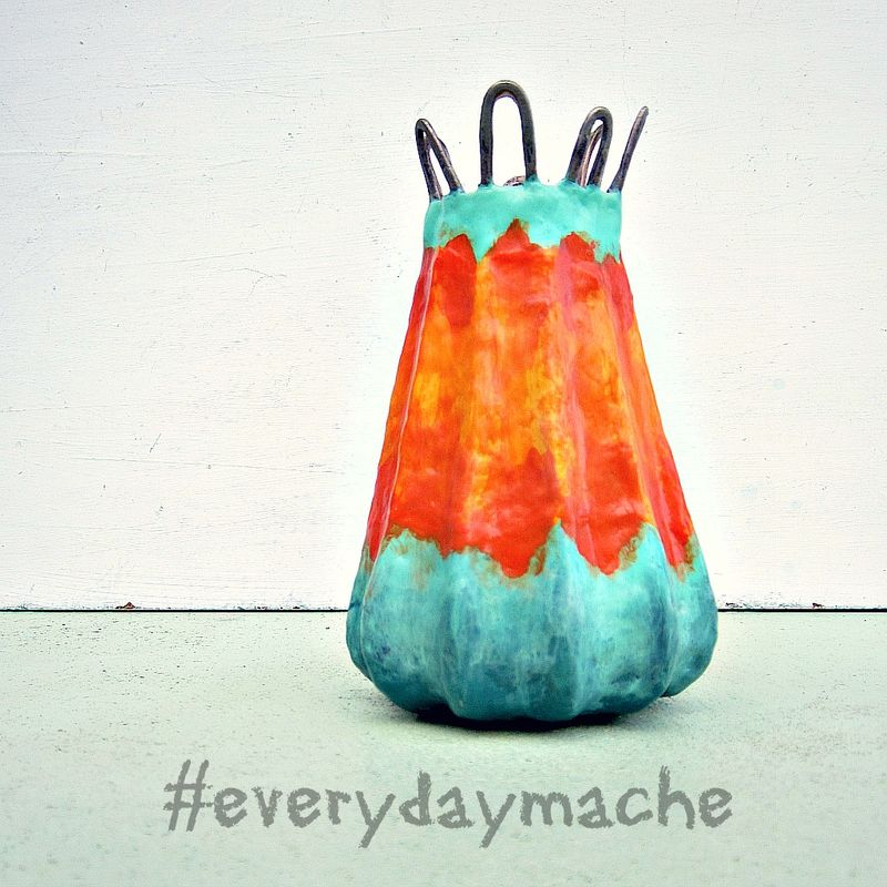 Paper Mache Wet Vase, Handmade Blue and Orange Recycled Decor: Firefly Vase - product images  of