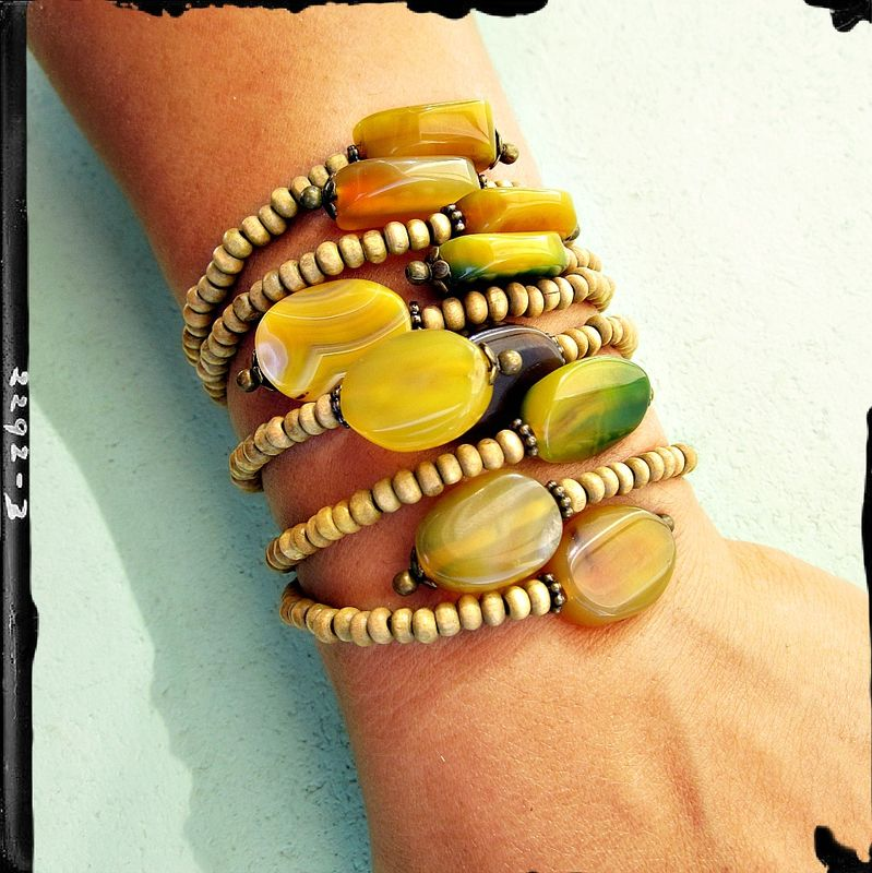 Adjustable Cuff Bracelet, Natural Wood Beaded with Agate Accents: Sela - product images  of